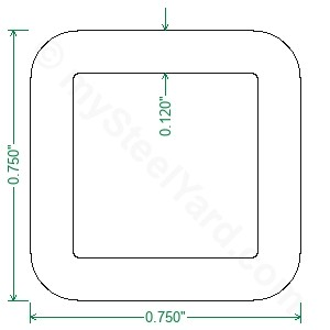 A513 Steel Square Tubing - 3/4 x 3/4 x 11 Gauge