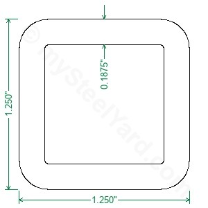 A500 Steel Square Tubing - 1-1/4 x 1-1/4 x 3/16