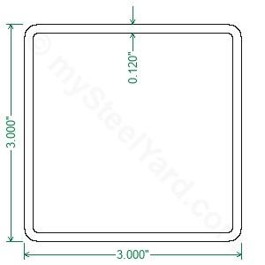 A500 Steel Square Tubing 3x3x11 Gauge Mysteelyard Com