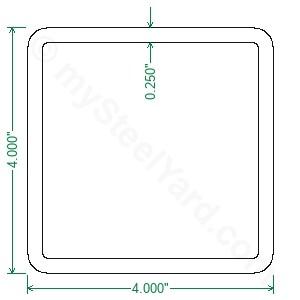 A500 Steel Square Tubing 4x4x1 4 Mysteelyard Com