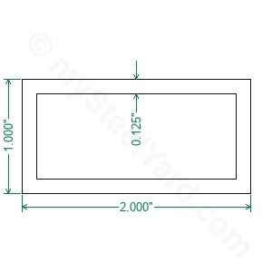 "1/"" x 2/"" x 1//8/"" Aluminum Rectangular Tube 6061  x 66/"""