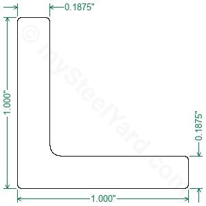 "Aluminum Angle 6061 T6 1/"" x 1/"" x 3//16/"" wall x 12/"""