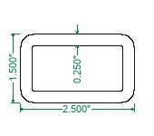A500 Steel Rectangular Tubing - 2-1/2 x 1-1/2 x 1/4