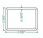 A500 Steel Rectangular Tubing - 3-1/2 x 2-1/2 x 3/16