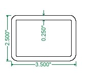 A500 Steel Rectangular Tubing - 3-1/2 x 2-1/2 x 1/4