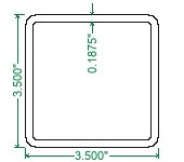 A500 Steel Square Tubing - 3-1/2 x 3-1/2 x 3/16