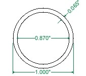 AWCR A513 Steel Round Tubing - 1 x 16 Gauge