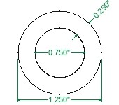 DOM Steel Round Tubing Bushing Stock - 1-1/4 x 1/4
