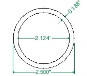 DOM Steel Round Tubing Bushing Stock - 2-1/2 x 0.188